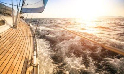 Sailing to the Sunrise. Luxury yacht.